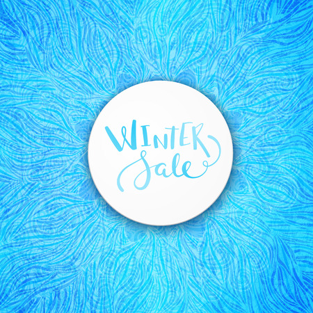 winter sale: Label Winter sale over frosty blue background