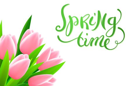 spring time: Hand made calligraphy Spring time with tulip flowers