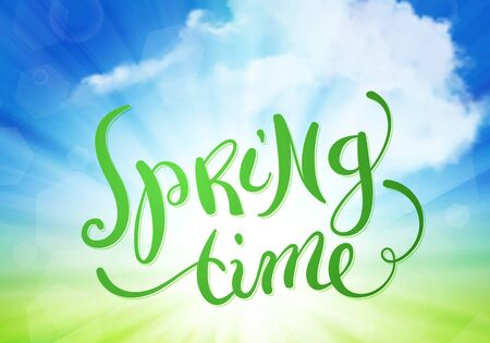 time over: Hand made calligraphy Spring time over sky with clouds, vector illustration