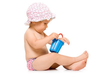 sunhat: Cute child in swimming pants and sunhat, isolated over white