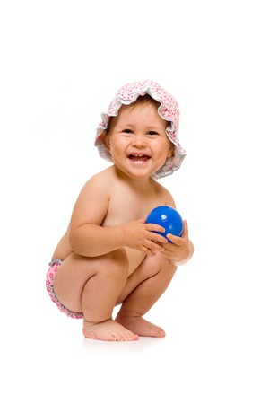 sunhat: Little happy child in sunhat with ball, isolated over white Stock Photo