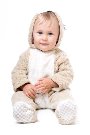 plush: Cute baby in plush costume, isolated over white