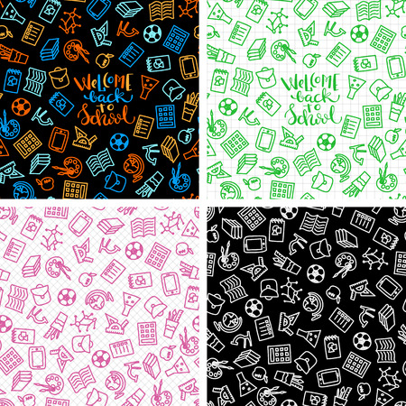 Brightset of seamless patterns with school icons, vector illustration Illustration