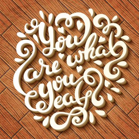 bebes lindos: Usted es lo que come las letras dibujado a mano, ilustración vectorial