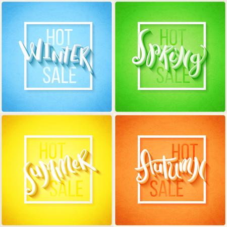 seasonal: Hot seasonal sale hand drawn lettering, vector illustration Illustration