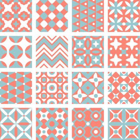 Set of geometric patterns, seamless background, vector illustration Illustration