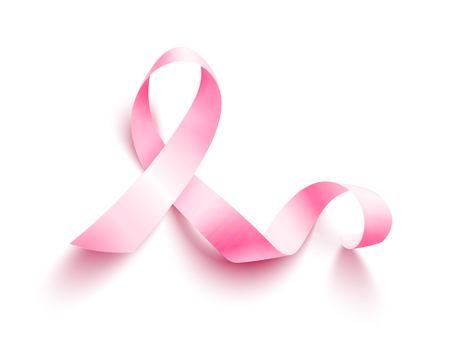 Realistic pink ribbon, breast cancer awareness symbol, vector illustration 矢量图像