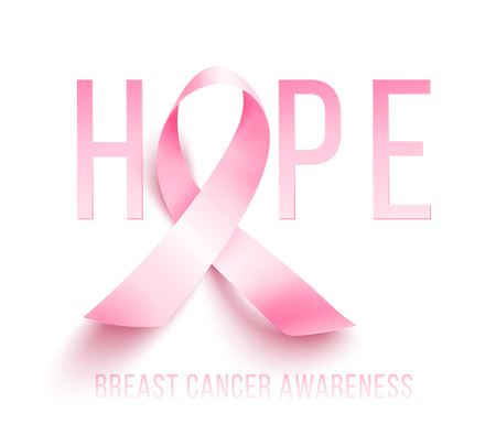 Realistic pink ribbon, breast cancer awareness symbol, vector illustration Illustration