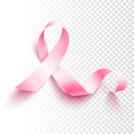 Realistic pink ribbon, breast cancer awareness symbol, vector illustration Ilustração