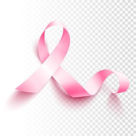 Realistic pink ribbon, breast cancer awareness symbol, vector illustration Stock Illustratie