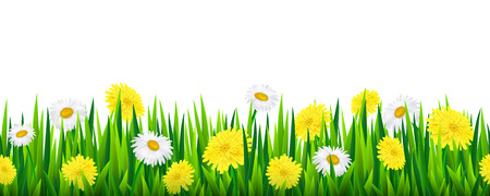 Seamless border with grass and flowers, vector illustration Ilustração
