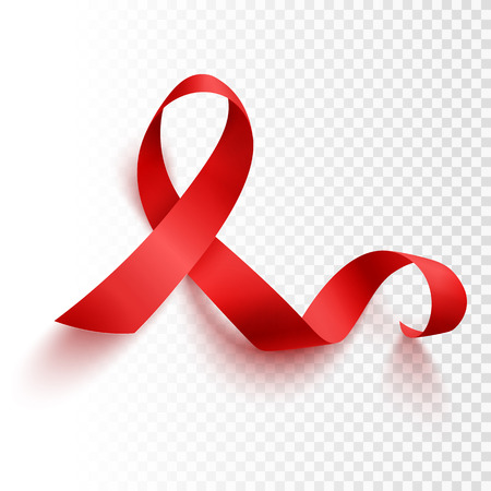 Realistic red ribbon, world aids day symbol, 1 december, vector illustration Vectores