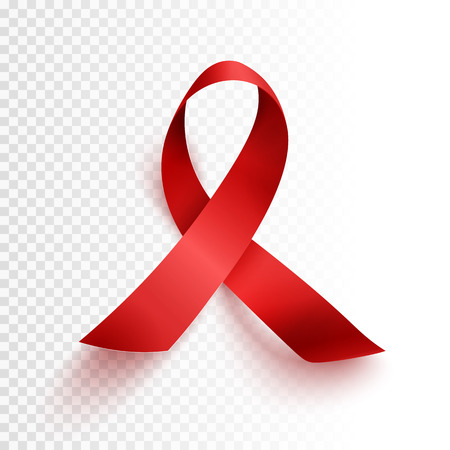 Realistic red ribbon, world aids day symbol, 1 december, vector illustration 向量圖像