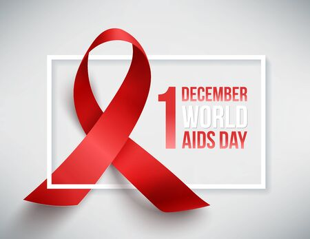 aids awareness ribbon: Realistic red ribbon, world aids day symbol, 1 december, vector illustration Illustration