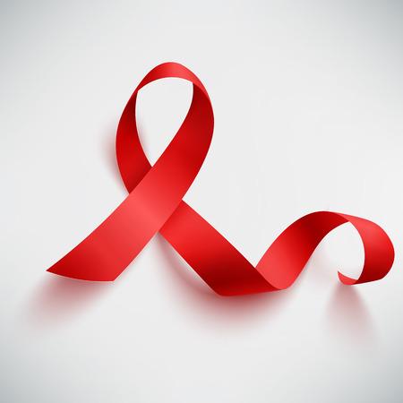 Realistic red ribbon, world aids day symbol, 1 december, vector illustration Stock Illustratie