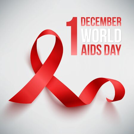 Realistic red ribbon, world aids day symbol, 1 december, vector illustration Illustration