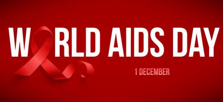 Realistic red ribbon, world aids day symbol, 1 december, vector illustration Illustration