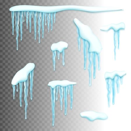 spiked: Set of realistic borders with snow and icicles. Elements for christmas design over transparent background, vector illustration Illustration