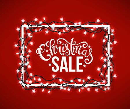 Christmas sale poster with hand-drawn lettering over wooden background with christmas lights, vector illustration