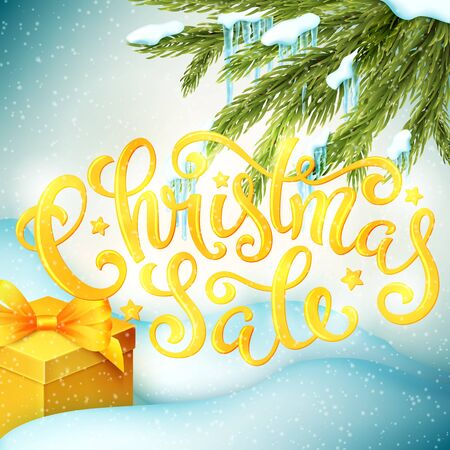 Christmas sale poster with hand-drawn lettering, vector illustration