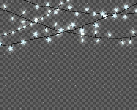 Set of realistic color garlands, festive decorations. Glowing christmas lights isolated on transparent background.