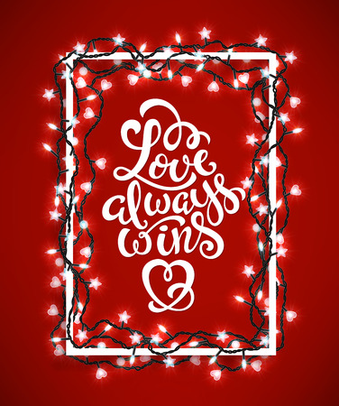 Poster with with hand-drawn lettering, love always wins, vector illustration Stock Photo