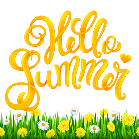 Summer holiday concept. Hello summer hand drawn lettering. Vector illustration with realistic fresh grass and flowers. Illustration