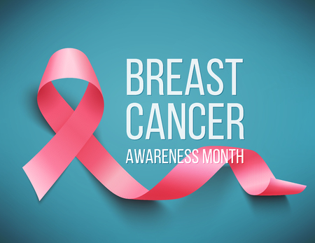 Realistic pink ribbon, cancer awareness symbol, vector illustration