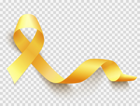 Realistic gold ribbon, childhood cancer awareness symbol, vector illustration Illustration