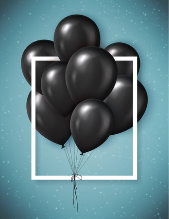 Black Friday sale poster with realistic black balloons. Vector illustration.