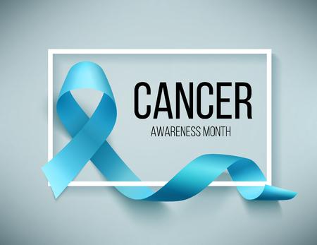 Fita azul realista, símbolo mundial do dia do câncer de próstata em novembro, ilustração vetorial. Cartaz para o mês de consciência do canser.