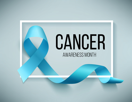 Realistic blue ribbon, world prostate cancer day symbol in november, vector illustration. Poster for canser awareness month. Vettoriali