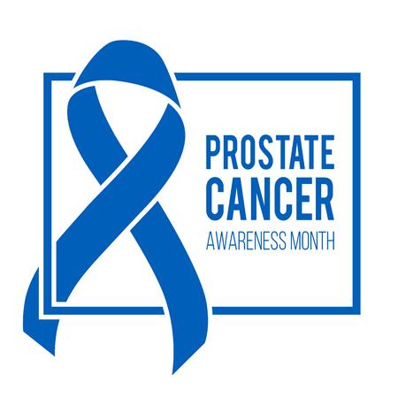 Realistic blue ribbon, world prostate cancer day symbol in november, vector illustration. Poster for cancer awareness month.