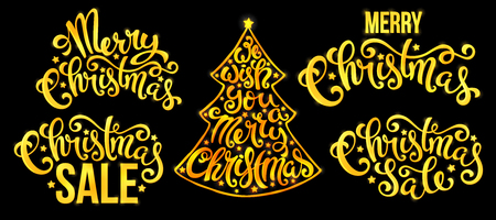 Set of Christmas quotes with hand drawn lettering. We wish you a Merry Christmas. Vector illustration