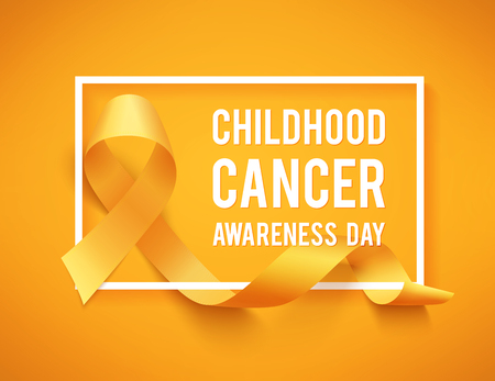 Childhood cancer day  with white border and ribbon on yellow background.