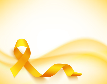 Childhood cancer day  with ribbon illustration on light background.