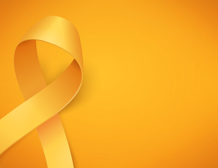 Background for childhood cancer awareness day, with synbol realistic gold ribbon, vector illustration