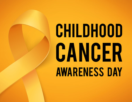 Realistic gold ribbon, childhood cancer awareness symbol, vector illustration Vettoriali