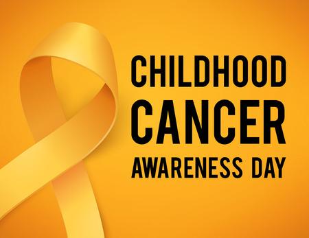 Realistic gold ribbon, childhood cancer awareness symbol, vector illustration Illustration