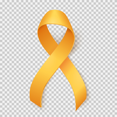 Childhood cancer day with ribbon illustration on transparent background.