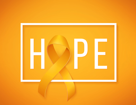 Childhood cancer day with white border and ribbon on yellow background. Иллюстрация