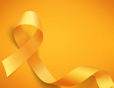 Childhood cancer day with ribbon illustration  on yellow  background.