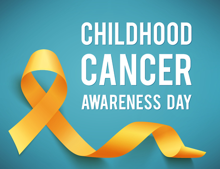 Childhood cancer day with ribbon illustration on blue background. Vettoriali
