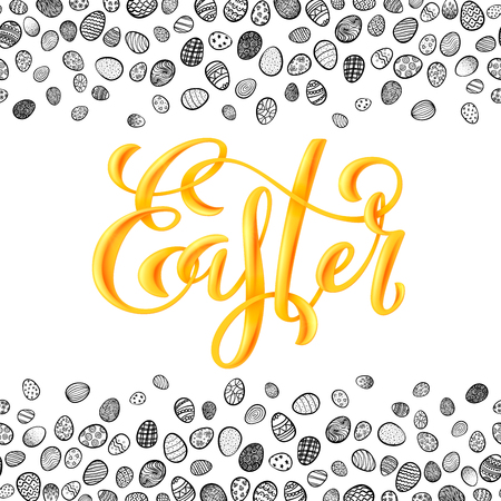 Poster with hand written Happy Easter phrases. Greeting card with easter eggs. Vector illustration