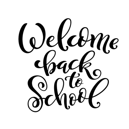 Handdrawn lettering Welcome back to school. Design template for school theme. Vector illustration.