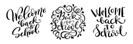 Set of handdrawn lettering Welcome back to school. Design template for school theme. Vector illustration. Vettoriali