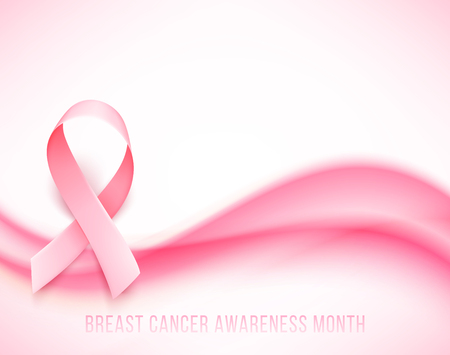 Symbol of Breast cancer awareness month in october. Vector background with realistic pink ribbon. Vector illustration.