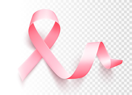 Realistic pink ribbon isolated over transparent background. Symbol of breast cancer awareness month in october. Vector illustration. eps10