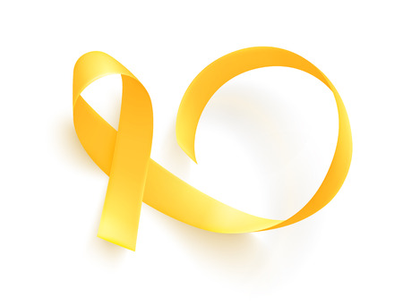 Realistic gold ribbon. World childhood cancer symbol, vector illustration. Poster for cancer awareness month.