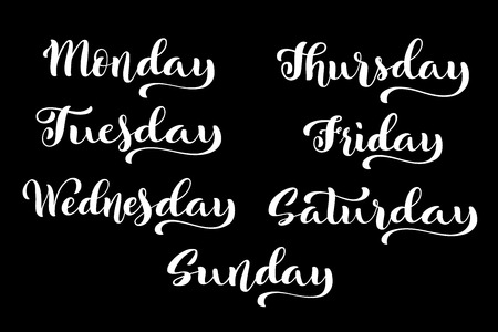 Big calligraphic set days of the week. Monday, Tuesday, Wednesday, Thursday, Friday, Saturday and Sunday handdrawn lettering for calendars. Vector illustration.